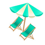 Beach umbrella and chairs to decorate tourist posters, flyers, b