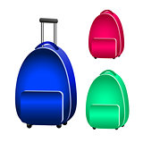 Blue suitcase green and red backpack for banner decoration, leaf