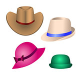 Hats for decoration of postcards, banners, booklets, leaflets, w