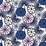 Handdrawn flower seamless vector pattern.