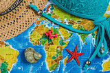 Travel Destination Points on World Map Indicated with Colorful Thumbtacks, Red Ribbon and Shallow Depth of Field.