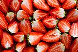Fresh strawberries sliced into halves