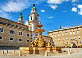 Salzburg Austria fountain at central Residenzplatz