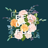 Floral design with colorful pink, white and orange roses and green plants. Vector illustration with integrated typography.