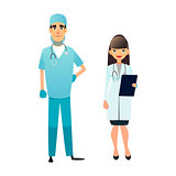 Doctor and nurse team. Cartoon medical staff. Medical team concept. Surgeon, nurse on hospital. Professional health workers. Flat vector characters isolated on white.