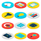 Big Data Business Isometric Icons