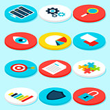 Big Data Analytics Isometric Icons