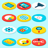 Big Data Isometric Icons
