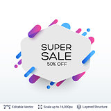 White badge Super Sale sticker.