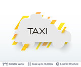 White badge taxi car sticker.