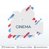 White badge cinema sticker.