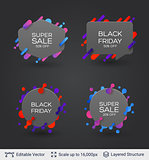 Black badge stickers collection.