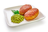 Fried breaded cutlet isolated on white background