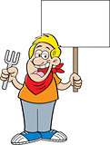 Cartoon Man Holding a Fork and a Sign