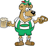 Cartoon Bear Holding a Pretzel and a Beer Mug