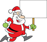 Cartoon Santa Claus Running While Holding a Sign