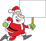Cartoon Santa Claus Running While Holding a Sign