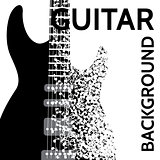 vector abstract background with electric guitar and notes
