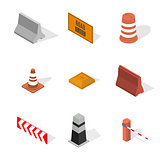 Under construction design elements in 3D, vector illustration.