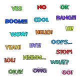 Cartoon text for speech bubbles, vector illustration.