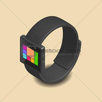 Smart watch in 3D, vector illustration.