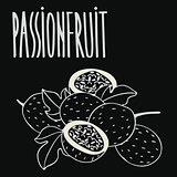 Chalkboard ripe passion fruit