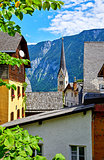 Hallstatt Austria traditional houses and old roofs