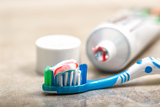 Toothbrush and toothpaste on the shelf
