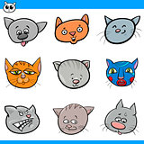 cartoon cats and kittens heads collection