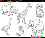 safari cartoon animal characters coloring book