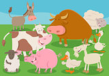 farm animal characters group cartoon illustration