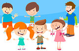 cartoon kids comic characters group