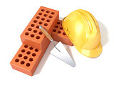 Safety helmet with round perforated bricks and trowel. 3D