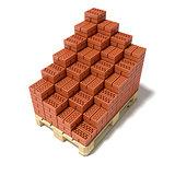Euro pallet and cascade arranged ceramic bricks. 3D