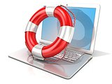 Laptop with lifebuoy. 3D