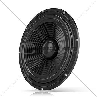 3D render illustration of loudspeaker. Side view