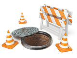Manhole traffic cone and barrier 3D
