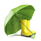 Pair of yellow rain boots and a green umbrella 3D