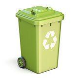 Green plastic recycle bin closed 3D