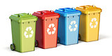 Containers for recycling waste sorting plastic, glass, metal, pa