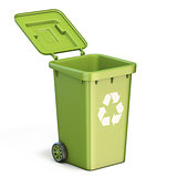 Green plastic recycle bin opened 3D