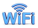 Blue WiFi symbol 3D
