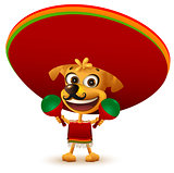Funny cheerful yellow mexican dog in poncho and sombrero holding maracas