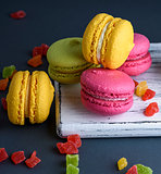 multicolored baked cakes of almond flour macarons