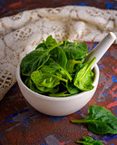 fresh green spinach leaves in a white ceramic mortar