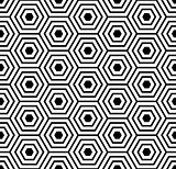 Seamless pattern with black white hexagons and striped lines.