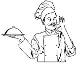 Chef Gesture Delicious and Holding a Cloche Platter Tray