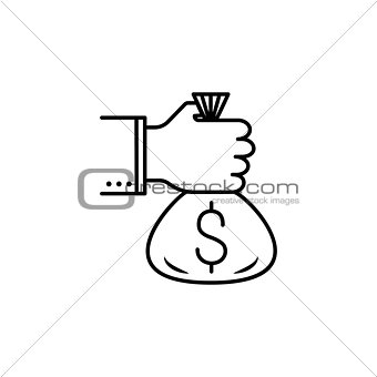 a bag of money in the hands icon.Element of popular finance icon. Premium quality graphic design. Signs, symbols collection icon for websites, web design,