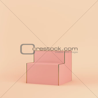 Empty display stand on bright background in pastel colors