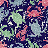 Vector Seamless Colourful Pattern with Turtles, Crabs and Lobste